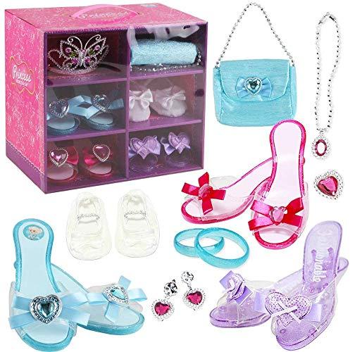 deAO Juego de Zapatos y Accesorios de Princesa Conjunto Infantil de Imitación 3 Pares de Zapatos con Tacón, 1 Par de Ballerinas, Corona y Joyas Conjunto Fabricado en Plástico