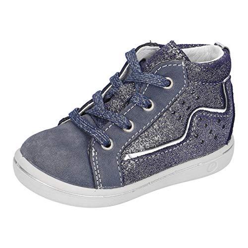 RICOSTA Mädchen Lauflern Schuhe SINJE von Pepino, Weite: Mittel (WMS), detailreich Freizeit leger schnürschuh flexibel Kids,Nautic,24 EU / 7 Child UK