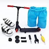 Mikemeng Finger Scooter with Tools and Shoes Finger Board Accessories - Pack 1 Black Finger Toy for 6+ Years Old Kid (Black Scooter)