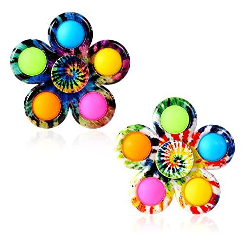 Kine 2 Pièces Fidget Spinner Push et Pop Bubble it Sensory Fidget Toys Pack, Jouets Sensoriel de Bulle Tie Dye Simple Dimple Hand Spinners (#2)