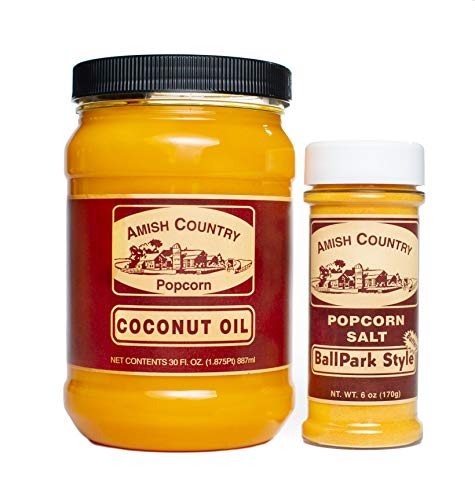 Review Amish Country Popcorn | Oil and Seasoning Variety Pack | Coconut Oil - 30 oz and Ballpark But...