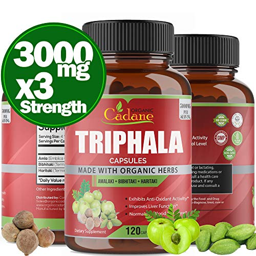 Organic India Triphala (3 Fruit Powders) 3000Mg, 120 Veggie Capsules | Supports Weight Loss And Improving Digestion, Detoxification, Cleansing | Non-Gmo Vegan Plus Digest Tone Herbs And Supplements