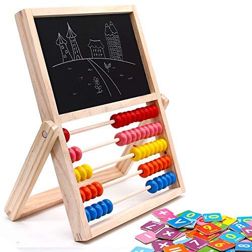 jerryvon Magnetisches Holzpuzzle Staffelei Abakus Holzspielzeug Doppelseitiger Maltafel Whiteboard Kinderspiele Nummer Zählen Lernspielzeug ab 3 4 5 Jahren