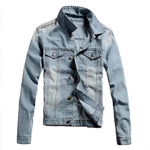 Aooword-men clothes Herren beiläufige mantel denim outwear mode herbst jean-jacke Medium Hellblau
