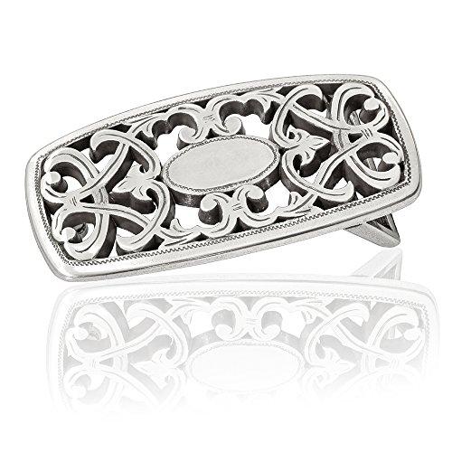 Gürtelschnalle Buckle 30mm Metall Silber Geschwärzt - Buckle Avignon - Dornschliesse Für Gürtel Mit 3cm Breite - Silberfarben Geschwärzt