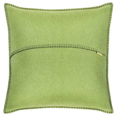 Soft-Fleece-Kissenbezug – Polarfleece mit Häkelstich – weiche, hochwertige Sofa-Kissenhülle – 50x50 cm - 650 green - von 'zoeppritz since 1828'