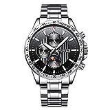 luckyco Reloj de Pulsera para Hombre, automático, automático, automático, automático, a través del Reloj de Negocios Impermeable