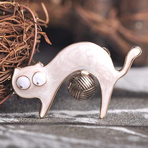 BAJIE Brosche New Lovely Cat Form Cloisonne Emaille Broschen für Kleidung Schal Zubehör Rucksack Pin Clip Clip Girl Boy Brosche Schmuck