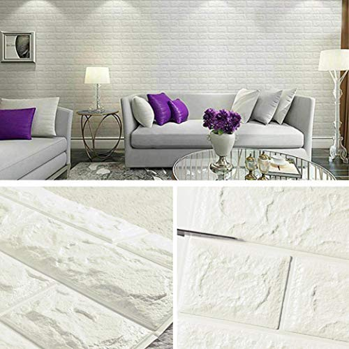 Masione 3D Self-Adhesive Wallpaper Faux Foam Real Bricks...