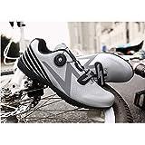 YURU Unisex Cycling Shoes,Adults' Road Biking Shoes Anti-Slip Self-Locking Breathable Cushioning Camping Outdoor Cycling Shoes,Silver-36