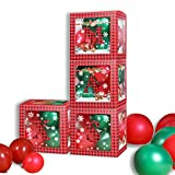 VINFUTUR Decoración Navideña, 4pcs Caja Transparente para Globos 30 * 30 * 30cm+4pcs Let...