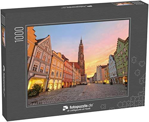 fotopuzzle.de Puzzle 1000 Teile Sonnenuntergang in Einer Alten gotischen Deutschen Stadt Landshut bei München, Bayern
