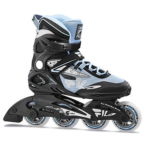 FILA Skates Legacy Comp Inline Skates, Women's Fitness Inline Skate - Black/Light Blue (Women 9)