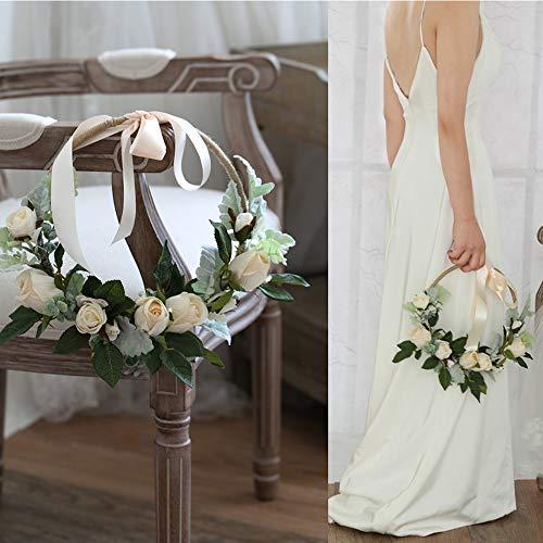 WSJS Marfil Blanco Rosa Minimalista Idea Boda arreglo Nupcial Ramo de Dama de Honor Bouquets sostener una Guirnalda de Flores Artificiales Falsa Flor una Puerta Circular Lintel