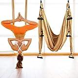 GJCrafts Columpio de Yoga aéreo, Que Incluye 4 mosquetones con Bordes Lisos, Hamaca voladora para Yoga con Kit de Montaje en Techo, Yoga antigravedad para el hogar, Gimnasio, al Aire Libre