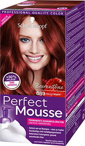 Schwarzkopf Perfect Mousse Permanente Schaumcoloration, 689 Helle Beere Stufe 3, 3er Pack (3 x 93 ml)