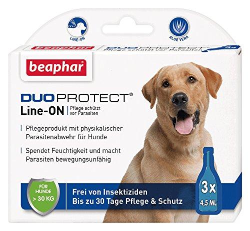 DuoProtect Hund (> 30 kg)   Pflege & Schutz für Hunde   Physikalische Parasitenabwehr   Mit Dimeticon & Aleo Vera   Wirkt bis zu 30 Tage   3 x 4,5 ml