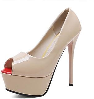 GLJJQMY Women's Open-Toe High Heels Classic Platform Sleek Minimalist Work Professional Shoes Palace Shoes Party Banquet Party 34-39 Yards Women's Sandals (Color : Apricot, Size : 35 EU)