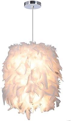 E27 sal/ón decoraci/ón l/ámpara de techo para dormitorio L/ámpara de techo de plumas Stoex 45 cm 40 W