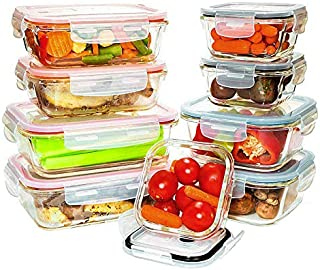 Benir Kitchen [9 Value Pack] Tempered Glass Food Storage Containers w/Locking Lids | No-Leak, BPA Free, Airtight, Microwave/Oven/Dishwasher/Freezer Safe