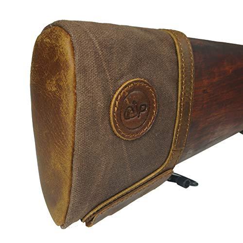 Tas Trost Rifle Gun Buttstock Extension,Retro Leather and Canvas Slip on Recoil pad,Shotguns Shoting Gun Butt Protector (Brown)