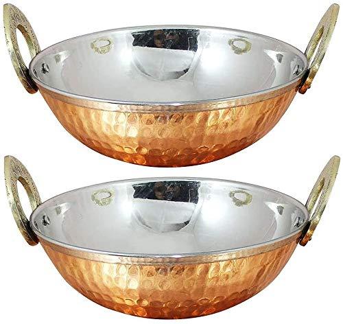 Set of 2, Indian Copper Serveware Karahi Vegetable Dinner Bowl with Handle for Indian Food, Diameter 13 Cm Approx