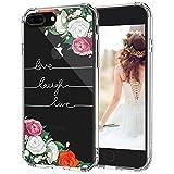 MOSNOVO Coque iPhone 8 Plus, Coque iPhone 7 Plus, Floral Flower Love Laugh Live Citations Design Motif Transparente Arrière avec TPU Bumper Gel Coque de Protection pour iPhone 7 Plus/iPhone 8 Plus