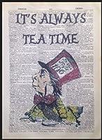 気違いハッター引用アリス不思議の国の印刷ヴィンテージ辞書壁アート画像
