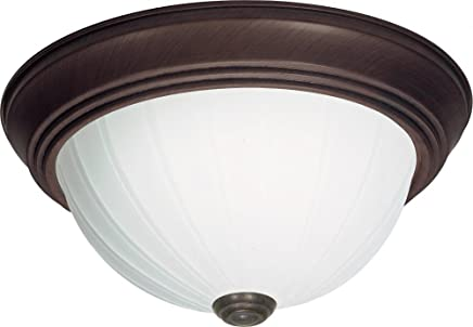 Nuvo SF76/248 15-Inch Old Bronze Flush Dome with Frosted Melon Glass [並行輸入品]