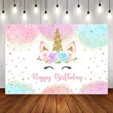 Avezano Unicorn Birthday Backdrop 5x3ft Happy Birthday Photo Background Girls Unicorn Birthday Party Decoration Gold Glitter Unicorn Dessert Table Banner