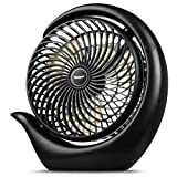 viniper 8.7inch Battery Desk Fan, USB Battery Rechargeable Table Fan : 3 Speeds, 180° Rotation & Strong Wind Portable Fan, Longer Working and Powerful for Home/Office/Travel - 3600mah, Black