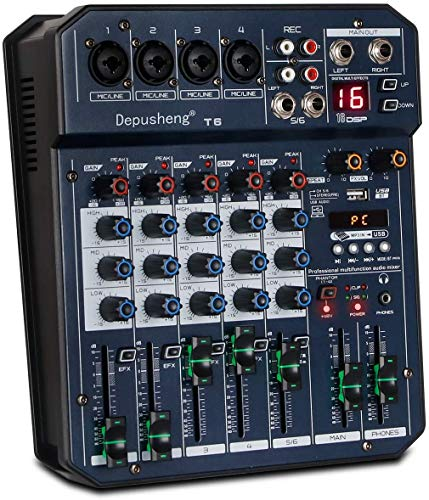 Depusheng T6 Consola mezcladora de tarjeta de sonido portátil de 6 canales Mezclador de audio Incorporado 16 DSP 48V Phantom Power Admite conexión BT MP3 para grabación de computadora, bandas