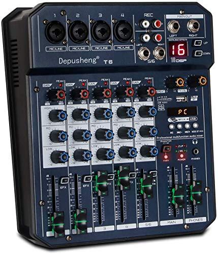 Depusheng T6 Consola mezcladora de tarjeta de sonido portátil de 6...