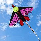 ZFLL Drachen New Camouflage Plane Kite Flying Toy Fighter Kite mit Grifflinie Long Tail Cartoon Kindergeschenk Outdoor Sportspiel, rot