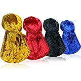 4 Pieces Crushed Velvet Wave Durag – Silky Durag Headwraps with Extra Long Tail Perfect for 360 Waves