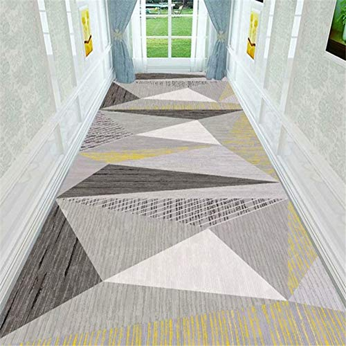 Rug Modern Area Rugs with Non-slip Rubber Backing, Soft Hallways Carpet Geometric Pattern Doormat Washable, Easy to Clean Brown Long Runner (Size : 120×650cm)