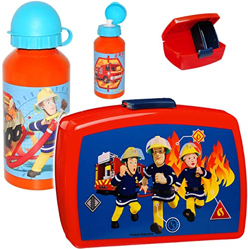 alles-meine.de GmbH 2 TLG. Set _ Lunchbox / Brotdose & Trinkflasche -  Feuerwehrmann Sam  - mit extra Einsatz / herausnehmbaren Fach - BPA frei - Brotbüchse Küche Essen - für J..