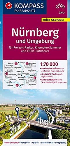 KOMPASS Fahrradkarte Nürnberg und Umgebung 1:70.000, FK 3343: reiß- und wetterfest mit Extra Stadtplänen (KOMPASS-Fahrradkarten Deutschland, Band 3343)