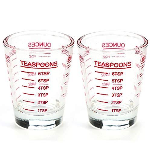 ショットグラス エスプレッソ30ml/1oz 計量カップ 目盛り付き 厚み強化 耐熱ガラス製 お酒グラス ワイングラス エスプレッソマシン 居酒屋 レストラン カフェ (2個 レッド)
