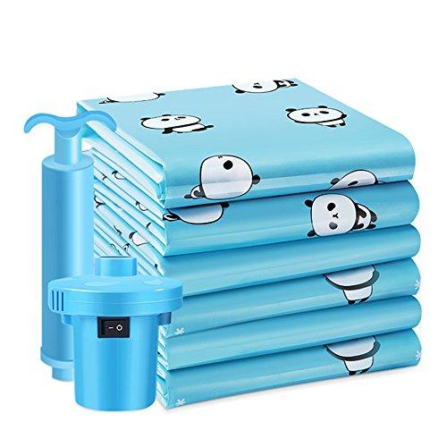QFFL Sac de compression sous vide Sac de compression de vide d'impression bleue créative/sac de stockage antipoussière de couverture de couette extra-large/sacs de finition de bagages d'habillemen