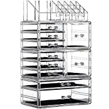 Cq acrylic Clear Makeup Organizer Large Stackable Skin Care Cosmetic Display Cases With 10 Drawers For Jewelry Hair Accessories lip gloss Perfum Tray Lipstick Brush Holder