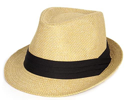Sombrero de paja de verano Fedora sombrero corto Panamá sombrero de sol Trilby Beach Hat para hombres y mujeres - marrón - Medium