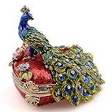 N/H - Joyero de pavo real con diseño de animales Faberge ruso vintage decoración de metal