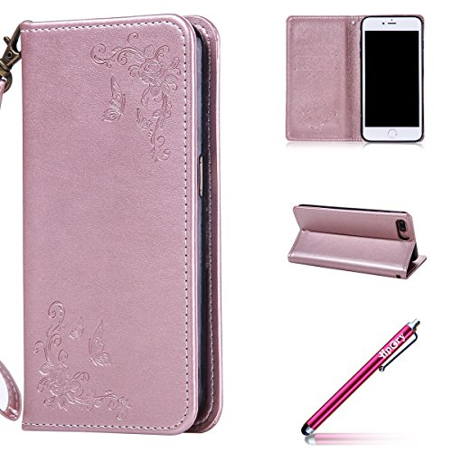 iPhone 7/8 Plus Leather Case,iPhone 7/8 Plus Coque Portefeuille,Hpory élégant Retro Diagonal Roses Motif Solid Color PU Cuir Case Book Style Folio Stand Fonction Support PU Leather Walllet Case with Credit Card Holder Multifonction de Shell en Soft Silicone Bumber Protector Étui en Cuir Anti Poussière Resistance Anti-rayures et Shockproof Couverture Etui Coquille pour iPhone 7/8 Plus + 1 x Hpory Stylus-(Or rose)