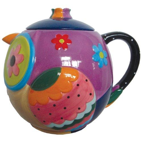 brightly Colored Whimsical gufo in ceramica teiera 935,5gram