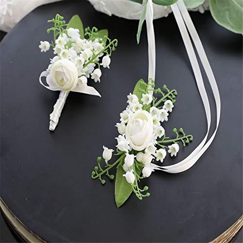 Fouriding Hochzeit Corsage Set Vintage Ribbon Rose Künstliche Boutonniere Blume Handgelenk Corsage