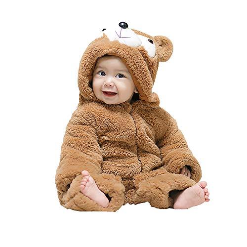 mikistory Bambino Infantile Neonato Animale Inverno Cappuccio Onesies Snowsuit Marrone Orso 0-3 Mesi