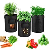 Potato Grow Bags, 6.5 Gallon Potato Grow Planter 3 Packs,Planter Pot with Flap and Handles,Nonwoven Plant Grow Bags for Potato TomatoCarrotsand Other Vegetables