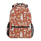 Stilvoll Orange Akita-Hund Rucksack-Leichte School College Reisetaschen 16 X 11,5 X 8 Zoll
