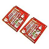 PRETYZOOM - Juego de papel de carta navideña con goma de borrar y sacapuntas, regla y lápiz, ideal como regalo para niños
